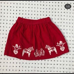 Hanna Andersson red dala horse skirt size 110/5